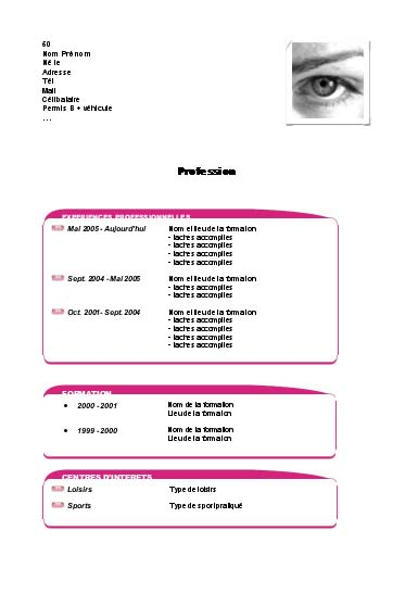 cv exemple. detail you an example cv